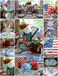 In the Potting Shed: Celebrating the Red, White and Bloom! | ©homeiswheretheboatis.net #tablesetting #patriotic #sheshed #memorialday