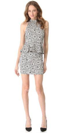 alice + olivia Lace Peplum Halter Dress |