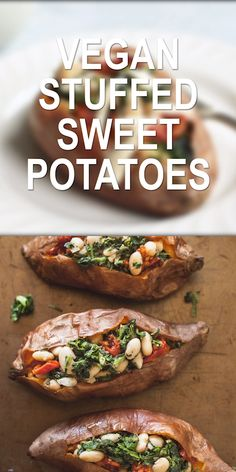 Vegan Stuffed Sweet Potatoes - A healthy dinner idea loaded with beans veggies and drizzled in rich olive oil and tahini sauce! Vegan Stuffed Sweet Potatoes - A healthy dinner idea loaded with beans veggies and drizzled in rich olive oil and tahini sauce! Healthy Food Recipes, Whole Food Recipes, Healthy Snacks, Vegetarian Recipes, Healthy Eating, Cooking Recipes, Mexican Recipes, Dinner Healthy, Vegetarian Ramen