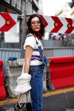 Salopette en jean & t-shirt 70's // Laugh of Artist