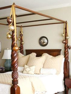 Embellish your canopy bed to create a welcoming atmosphere and add a little sparkle to your room.