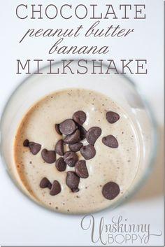 Chocolate Peanut Butter & Banana Milkshake by Unskinny Boppy