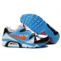the best attitude 8e1a2 e0950 Nike Sprotsweer Air Max 91 Blanc Bleu Ciel Orange Homme Pas Cher Chaussures  De Course Soldes