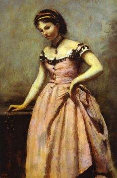 """""""Young Woman in a Pink Dress"""" - Jean-Baptiste-Camille Corot"""
