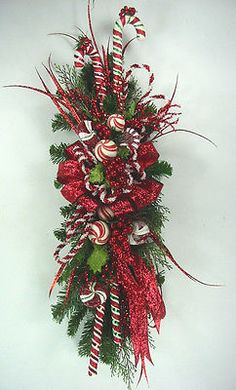 Candy Cane Vertical Swag Christmas by Ed The Wreath Guy