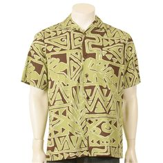 Geo Tapa Leaf Men's Aloha Shirt