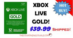 Save $20 on an XBOX Live Gold 12 Month Membership! Only $39.99!! Cheapest price around for this must-have! Awesome Gift Idea! Click the Picture below to get all of the details ► http://www.thecouponingcouple.com/12-month-xbox-live-gold-membership-only-35-99-shipped/  Use the SHARE button Below the Picture to SHARE this deal with your Family & Friends!  #Coupons #Couponing #CouponCommunity  Visit us at http://www.thecouponingcouple.com for more great posts!