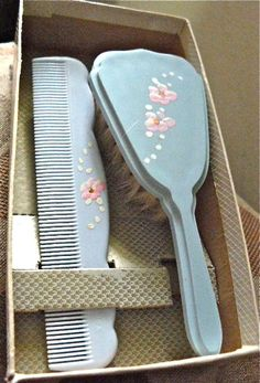 Vintage, hand-painted celluloid infant / baby brush and comb set.  Like my little brothers set.