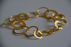 Gold bracelet, hoops bracelet, bridal jewelry, one of a kind, unique jewelry, gift for her, christmas gift, handmade bracelet, efrat makov by EfratMakovJewelry on Etsy