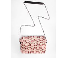 Sun. Ladies bag in handwoven fabric, chain and leather handle. 100% cotton. Lontra red.