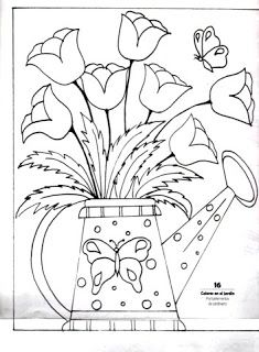 desenho de regador com tulipas para pintar                                                                                                                                                                                 Mais