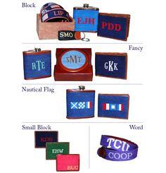 Personalized needlepoint belts, wallets, flasks...