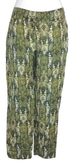 Lucky Brand Womens Pants Cropped Capris Relaxed Fit Woven Green Sz XL NEW $89.50 #LuckyBrand #CasualPants