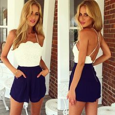 Really cute! White and Blue Backless Strap Stitching Lace Nightclub Hot Jumpsuit