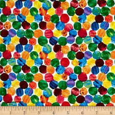 The Very Hungry Caterpillar Abstract Dots Multi from @fabricdotcom  Designed by Eric Carle for Andover Fabrics, this cotton print fabric is perfect for quilting, children's fashion apparel and accessories or home décor accents. Colors include orange, blue, green, yellow and red.