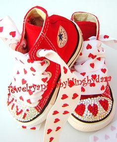 0e420be5cf14fb Infant Toddler RED HEARTS PERSONALIZED name Bling Crystal Red All Star  Converse HiTop Sneakers Shoes Cute