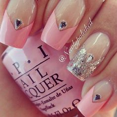 Pink and silver pointed french tip nails Get Nails, Fancy Nails, Love Nails, Pink Nails, Pink Manicure, Fabulous Nails, Gorgeous Nails, Pretty Nails, Bridal Nails