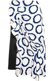J.W.AndersonAsymmetric printed cady and crepe midi skirt