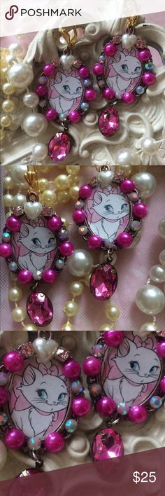 Marie Kitten earrings Marie from aristocrat kitten earring art I do not own the images in the jewelry this is simply handmade jewelry art caitlin ranck  Jewelry Earrings