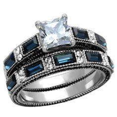 Delanna: 3.9ct Sapphire & Ice CZ Coin Edge 2 pc Steel Wedding Ring Set