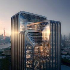 Office Building Architecture, Zaha Hadid Architecture, Futuristic Architecture, Building Design, Contemporary Architecture, Architecture Design, Zaha Hadid Buildings, Chinese Architecture, Gothic Architecture