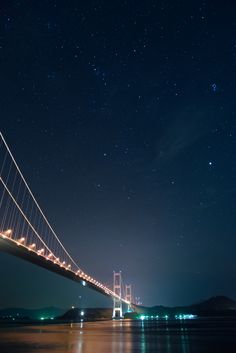 Stars lighting up the bridge, Kurushima-Kaikyo Bridge, Imabari, Ehime, Japan Beautiful Places To Visit, Beautiful World, Places To See, Ehime, Suspension Bridge, Belleza Natural, Adventure Is Out There, Stargazing, Golden Gate Bridge