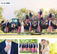 LOVE the pink pants!  Wedding Wednesday, EDSFTG, vineyard vines, ties, preppy