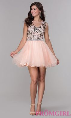 Shop high-neck short peach pink homecoming dresses at PromGirl. Illusion-sweetheart babydoll party dresses and semi-formal tulle a-line dresses with embroidery, rhinestones, and curly hems. Pink Party Dresses, Cute Girl Dresses, Tight Dresses, Pretty Dresses, Sexy Dresses, Short Dresses, Periwinkle Dress, Hot Dress, Mode Style