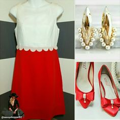 "'Lady in Red' Dress NWOT Lovely lady in Red dress. This beauty features an elegant design. The white top with delicate details and  vibrant red bottom make this dress a stunning success! Pair this beautiful dress with a glamorous statement necklace, bracelets and heels and off you go looking like a million bucks!  Zips up in back Length approx 34"" Material and white lining 100% polyester Light weight material Size medium Bust seam to seam approx 18"" Waist seam to seam approx 15""  All…"