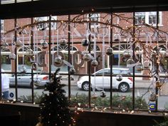 Looking out onto Church Street from the Milk & Honey store in Salem MA.