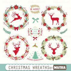 """Christmas clipart: """"Christmas Wreaths Clipart"""" with wreaths clipart, reindeer clipart, floral Christmas, 15 images, 300 dpi. PNG, EPS files"""