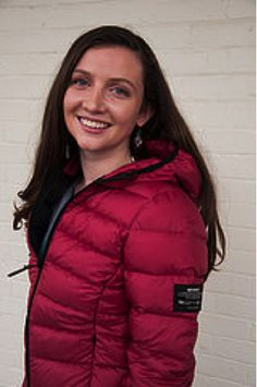 Danielle, a finalist, is wearing EcoAlf; Magenta winter coat made from recylced bottles!