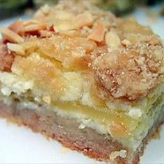 Apple Almond Bars on BigOven: Poles, along with most other Eastern Europeans, have traditional pastries for special holy days. Among the Easter delicacies are various fruit and nut bars. This scrumptious apple bar, made with almonds and cream cheese, never lasted long on my paternal grandmother's table. They are great any day of the year  it doesn't have to be a holiday for you to enjoy them.