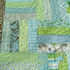Lime turquoise and soft green twin size quilt by 4quiltsandmore
