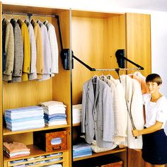 Outwater's Wardrobe Lift System comprises a hydraulically operated pull down telescoping clothing rod that enables you to maximize your closet's storage capacity by providing access to your clothing as required without the use of a chair, ladder or stool.