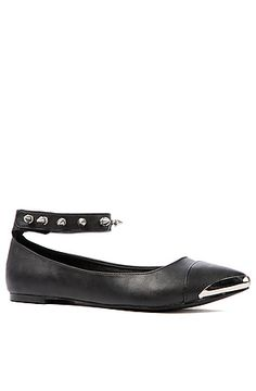 The Moo Flat in Black with Studded Ankle Strap by *Sole Boutique