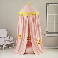 The Land of Nod | Kids Canopy: Pink Polka Dot Play Circus Tent in All Playroom