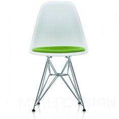 Eames Plastic Side Chair DSR Stoel met zitkussen en verchroomd onderstel - Vitra  Glijders: Basic Dark
