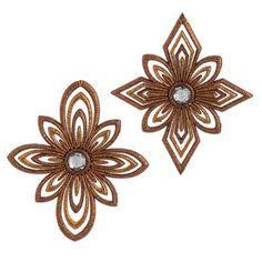"Copper Christmas Decorations | RAZ 5.5"" Copper Brown Snowflake Christmas Ornament Set of 2"