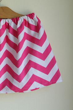 chevron zig zag skirt  hot pink and white  for by noahandlilah, $18.00