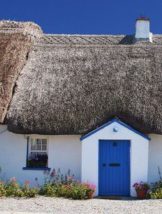 thatched cottage blue door - Google Search