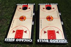 The Chicago Bulls custom cornhole boards with white LED's