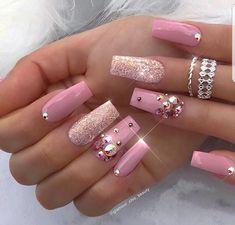 That Will Motivate You Beautiful Nails Elegant Nailart 30 - US Makeup Trends Ongles Bling Bling, Rhinestone Nails, Bling Nail Art, 3d Nails Art, Acrylic Nail Designs, Nail Art Designs, Acrylic Nails, Nails Design, Design Art