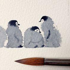 Aquarelle de pingouin mignon.  #Aquarelle #artdessinaquarelle #mignon #pingouin