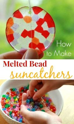 bead crafts Melted bead suncatchers are easy to make from kids plastic pony beads. these step-by-step instructions to make a beautiful and durable suncatcher. via TheArtfulParent Crafts To Do, Diy Crafts For Kids, Art For Kids, Craft Ideas, Crafts Toddlers, Children Crafts, Diy Ideas, Kids Fun, Children's Arts And Crafts