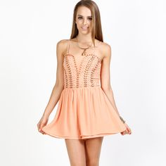 peach (S,M,L): Beaded Romper