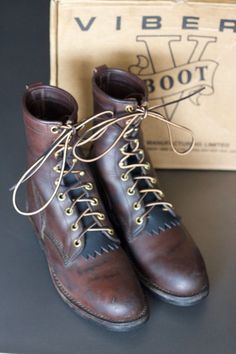 "Viberg Boots 8"" Brown Leather Work Boot Sz 10 Smokejumper Jobmaster Hotshot #VibergBoots #WorkSafety"