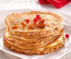 #Recette de #gâteau de #crêpes à la châtaigne, aux poires et aux noix.
