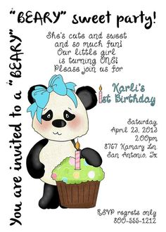 Deb's Party Designs - BEARy Sweet Panda Birthday Invite, $1.00 (http://www.debspartydesigns.com/beary-sweet-panda-birthday-invite/)