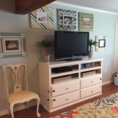 Built-ins, repurposed chair, Annie Sloan Old White, custom frames, Gray Owl paint, cheerful colors